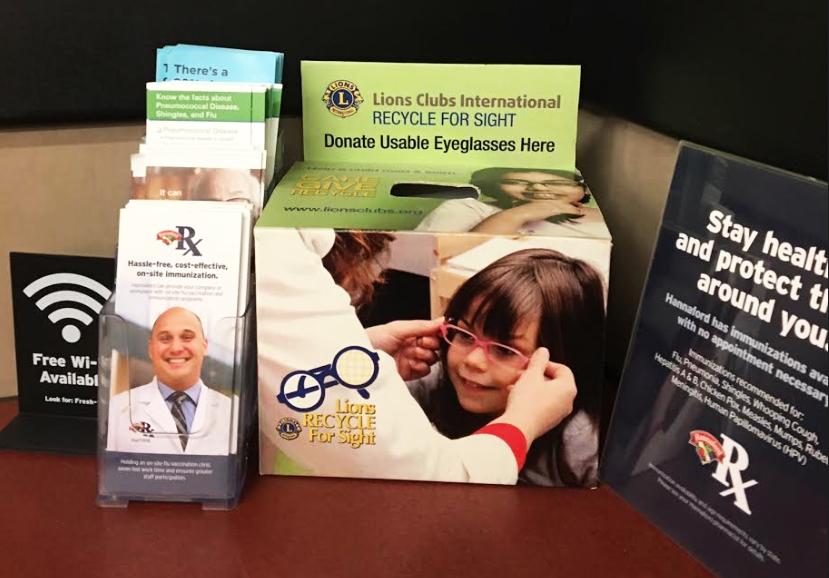 Lions Club eyeglasses donation box located at the Hannaford Pharmacy  counter in Yarmouth, Maine