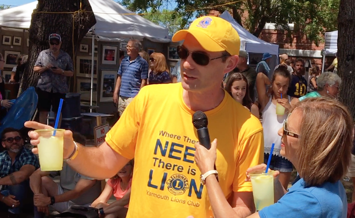 Jim Albright creates marketing buzz for the new Lemon Lucy slush at the Yarmouth, Maine Clam Festival